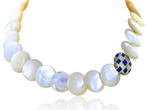 Estate Tifffany & Co Mother of Pearl & Inlaid Lapis Disk Necklace