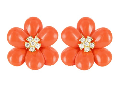 Coral & Diamond Floral Motif Earrings