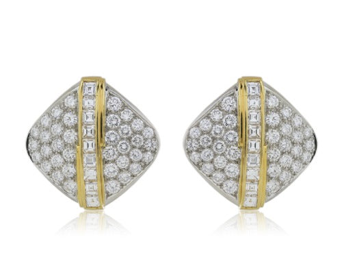 Diamond Earrings 18 Karat Two-Tone