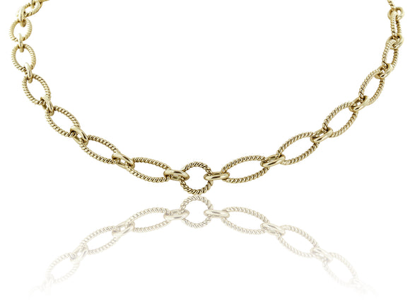 18 Karat Yellow Gold Oval Link Chain
