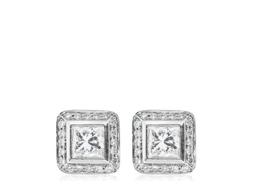 1.01 Carat Princess Cut Earrings