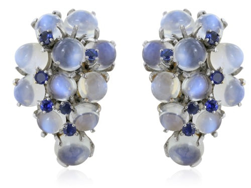 14 karat White Gold Moonstone and Sapphire Earrings