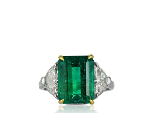 4.73ct Rectangular Emerald & Diamond Ring
