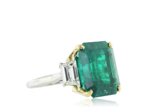 Hand made Colombian Emerald 16.11 ct AGL and diamond 2@1.15 three stone ring