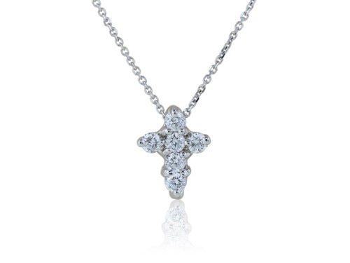 14 k white gold diamond cross pendant