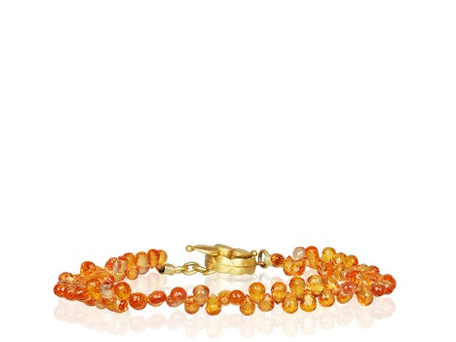 Briolette Shaped Orange Sapphire Bracelet