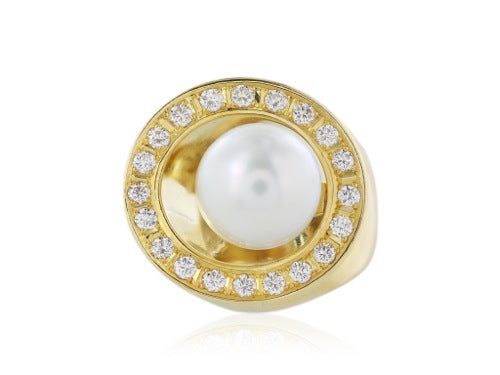 18 kt yg South Sea Pearl and diamond cluster ring