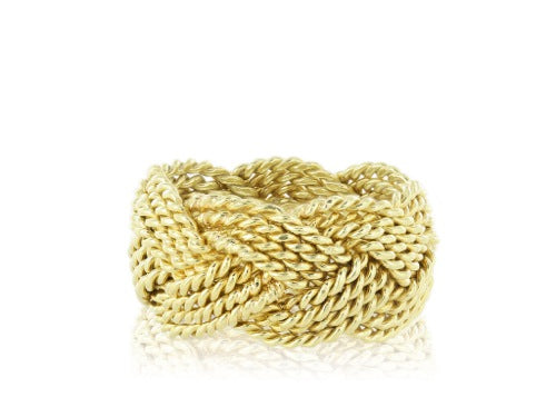 18kt YG 11mm Woven Band