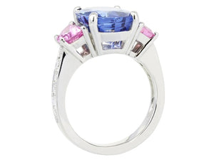 7.10ct Blue Sapphire Ring with Pink Sapphire Side Stones