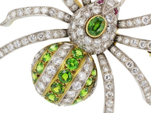 Demantoid Garnet Spider Pin