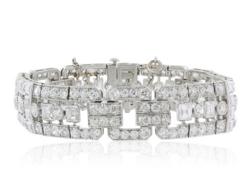 Plat Art Deco Diamond 156@approx 17.50 carats flexible bracelet