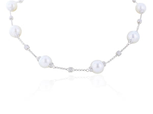 11-12MM South Sea Cultured Pearl Necklace with 2.08 Carats of Diamonds