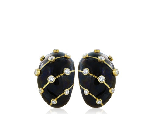 Schlumberger Black Enamel Earrings