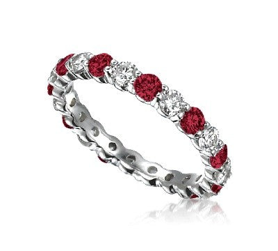 1.29ct Ruby Diamond Eternity Band