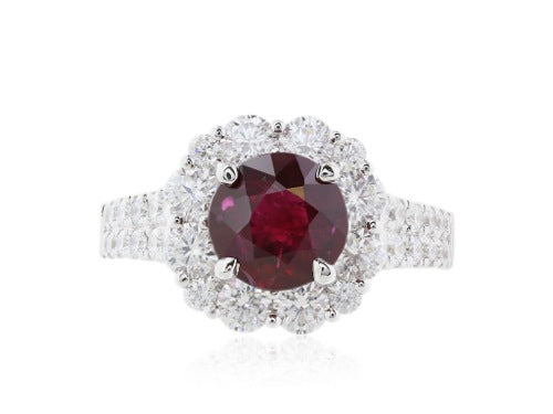 Burma Ruby 2.05 ctand Diamond cluster ring.