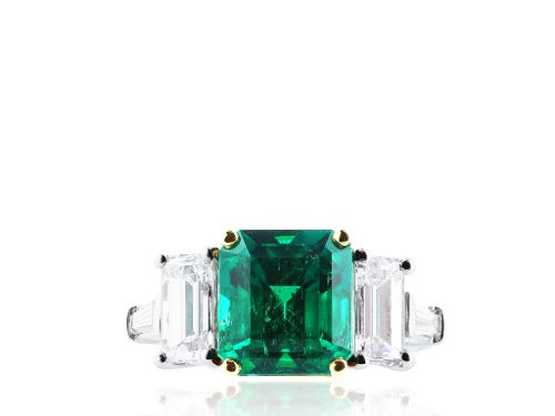 4.24ct Columbian Emerald & Diamond 3 Stone Ring