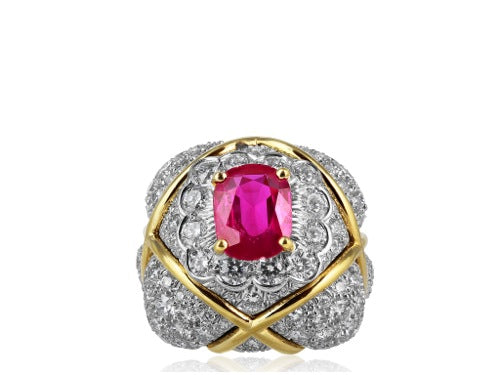 PLAT/18 KT No Heat Burma Ruby 2.25 Ring