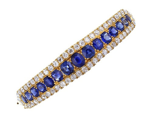 Estate 18kt Sapphire & Diamond Bangle Bracelet
