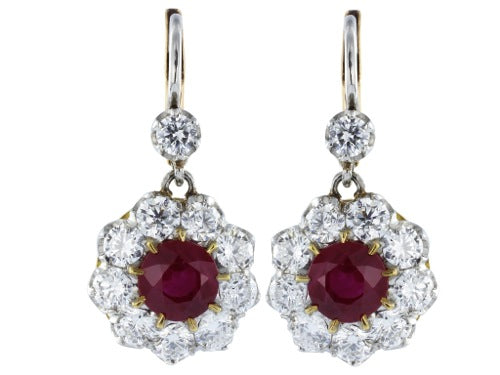 1.80ct Ruby & Diamond Drop Earrings