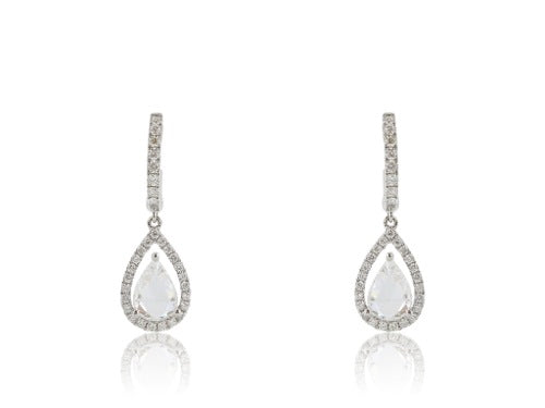 18kt Rose Cut Pear Drop Earrings