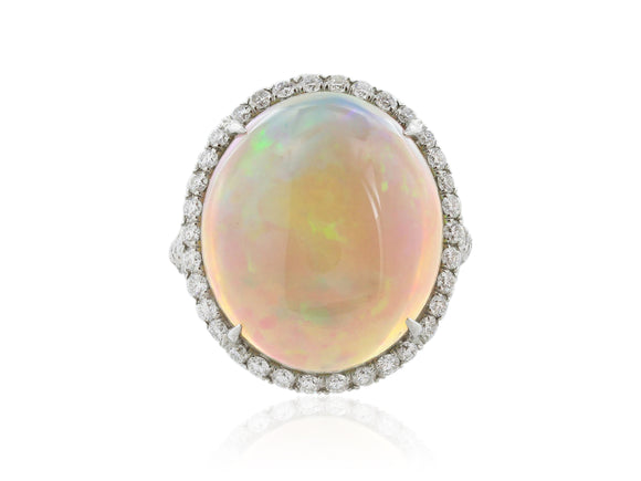 13.37 Carat Jelly Opal Ring with 1.25 Carats of Diamonds