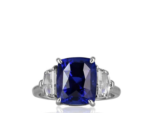 6.19ct Cushion Cut Sapphire & Diamond Ring