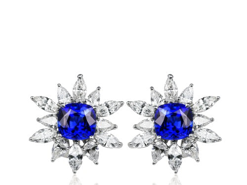 Platinum 7.75ct Sapphire & Diamond Cluster Earrings