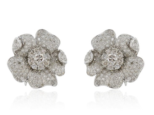 Diamond 10.50 carat floral clip earrings