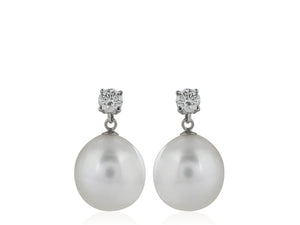 12MM Pearl and Diamond Earrings
