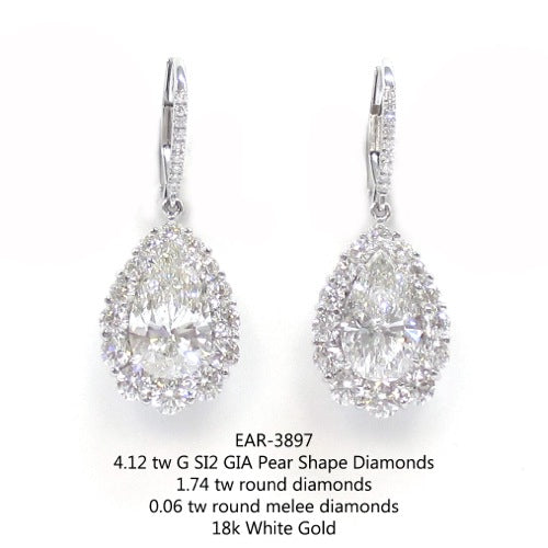 4.12ct Pear Shaped Diamond Drop Earrings