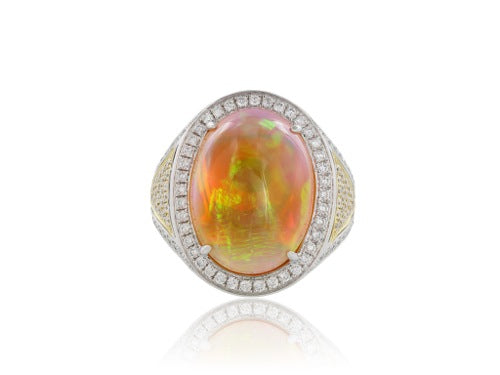 12.36 Carat Opal Diamond Ring