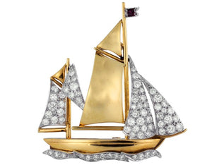 Vintage Diamond Sailboat Pin
