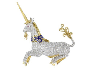 Vintage McTeigue 5.00ctw Diamond Unicorn Pin