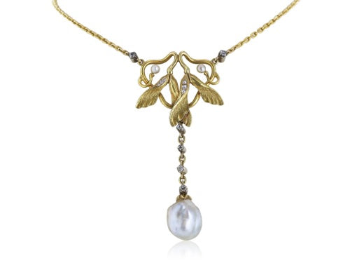 22kt YG Art Nouveau Necklace with GIA Pearls and Diamonds