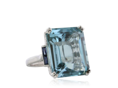 24.85 Carat Emerald Cut Aquamarine Ring with Sapphire accents