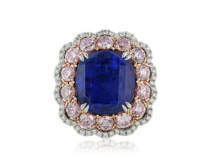 11.16 Carat GIA no Heat Sapphire 2.05 Fancy Pink Diamond Ring