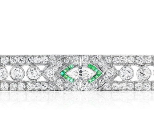 15.50ct Diamond & Emerald Art Deco Bracelet