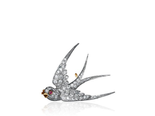 JE Caldwell Vintage Diamond Swallow Pin