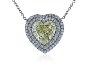 Canary Heart Shape Diamond 2.59 GIA FY VS!
