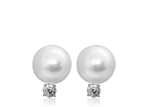 16mm South Sea Pearl & Diamond Earrings
