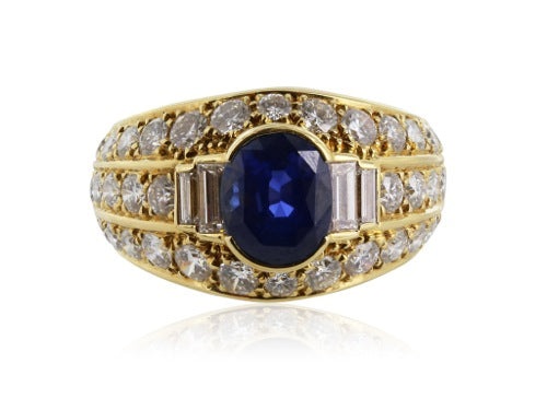 3.10ct Sapphire Diamond Ring Signed Cartier