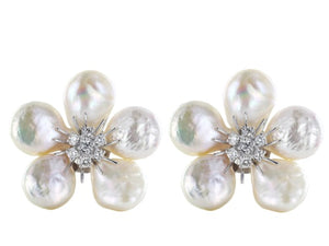 Pearl & Diamond Clip Earrings