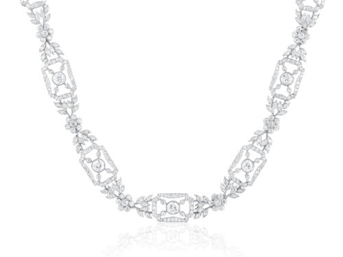 Vintage Style Diamond Open Work Necklace