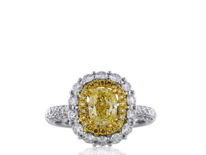 1.00ct Cushion Cut Canary Diamond Cluster Ring