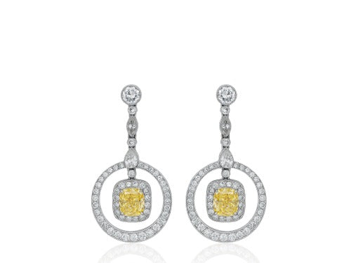 2.35ct Canary Diamond Drop Earrings