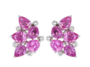 14.20 Pink Sapphire & Diamond Aletto Brothers Clip Earrings