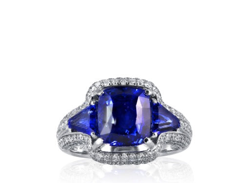 4.73ct Cushion Cut Sapphire Ring