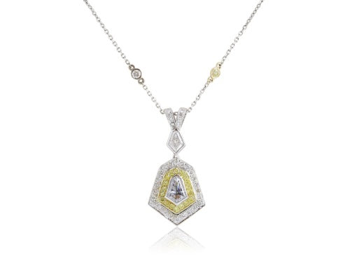 .65ct Colorless & Canary Diamond Pendant