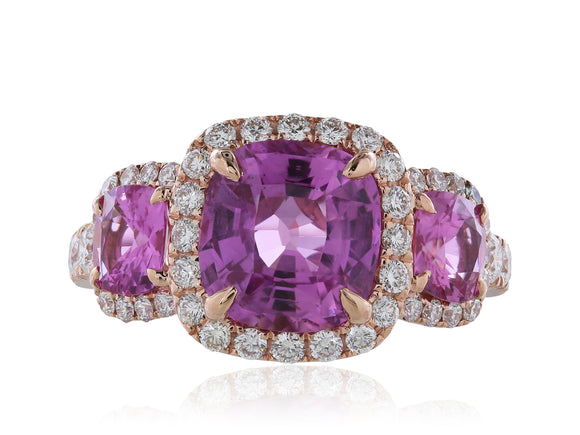18 Karat Rose Gold Pink Sapphire Diamond 3 Stone Ring 4.30 Carats
