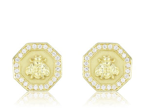 .72ct Gold Bee Earrings
